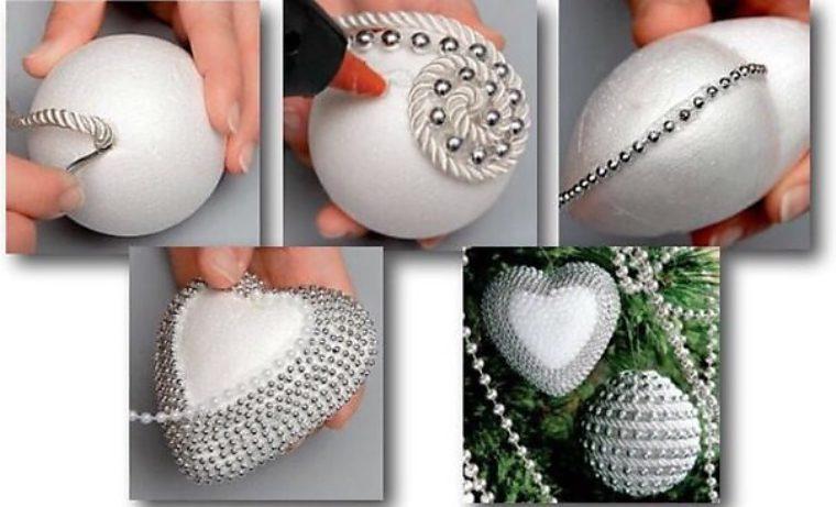 Елочные шары своими руками из пенопластовых шаров 79