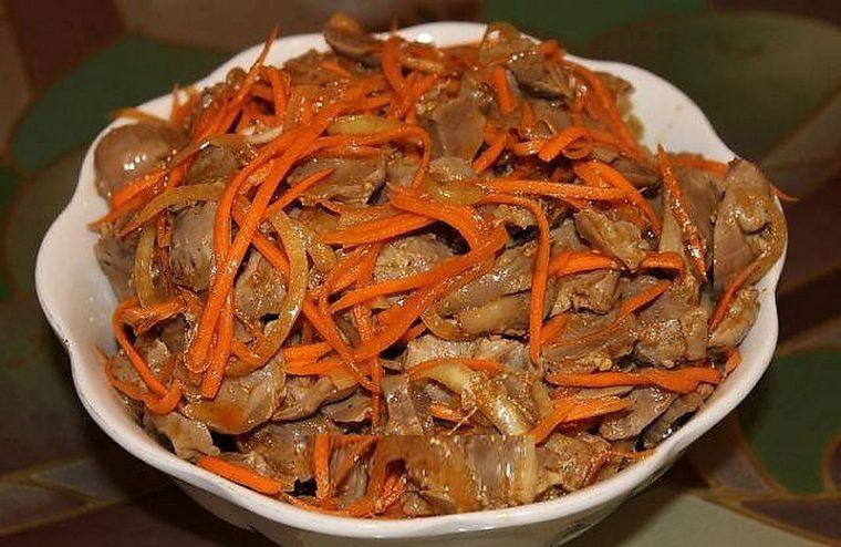 Рецепт салат из куриных желудков