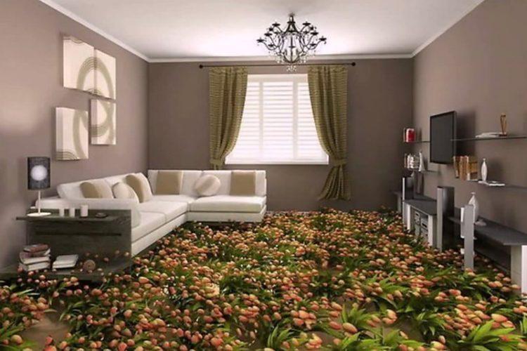Цветы на полу в интерьере