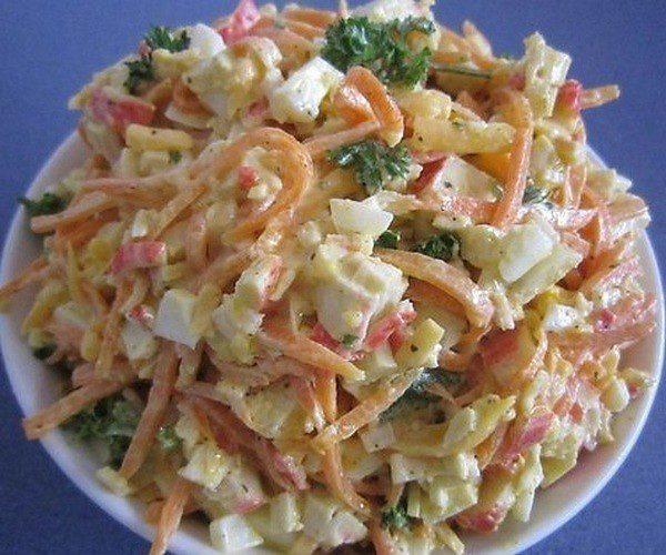 Салат с морковью по корейски крабовыми палочками