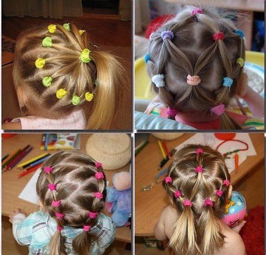 Детские прически с резинками на средние волосы