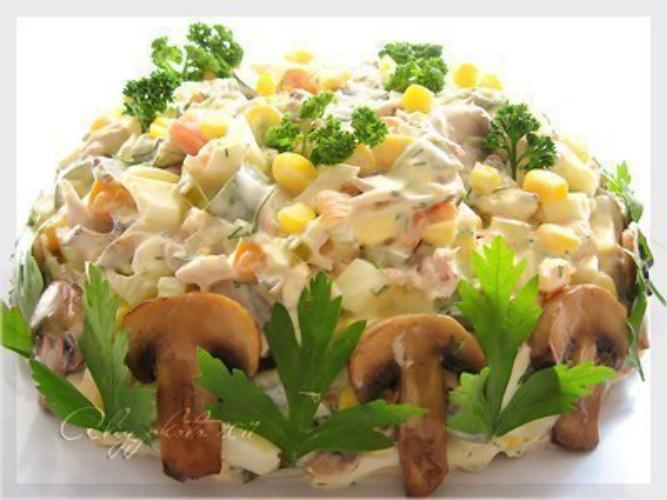 Рецепт салат с курицей осенний