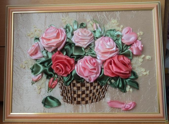 Розы в корзине из лент своими руками мастер класс