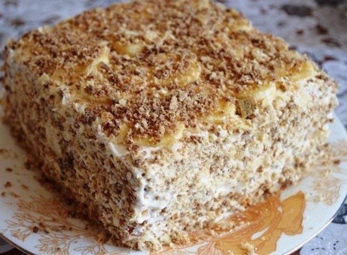 Торт из печенья с бананом без выпечки с творогом рецепт с пошагово