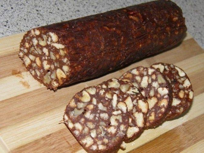 кондитерская колбаска из печенья фото рецепт