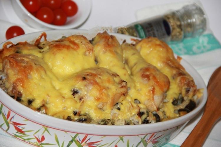 Блюда из курицы с грибами в духовке